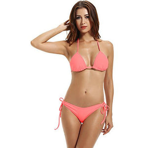 Side Tie Bottom Triangle Bikini *Plus - MillionDollarGurl.Com