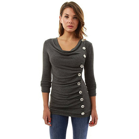 Cowl Neck Button Embellished Top - MillionDollarGurl.Com