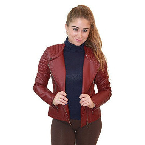 Faux Leather Biker Jacket With Pockets *Plus - MillionDollarGurl.Com