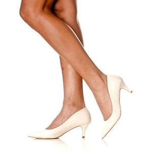 Pointed Closed Toe Kitten Low Heel Pumps - MillionDollarGurl.Com