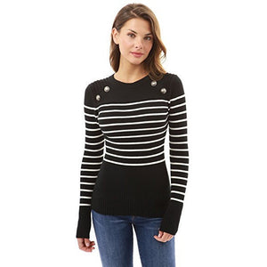 Crewneck Striped Military Sweater - MillionDollarGurl.Com