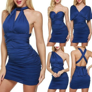 Multi Wear Stretch Ruched Bodycon Dress - MillionDollarGurl.Com
