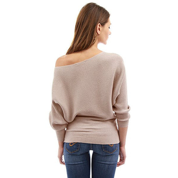One Shoulder Batwing Ribbed Sweater - MillionDollarGurl.Com