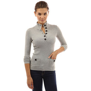 Button V-Neck Ribbed Sweater - MillionDollarGurl.Com