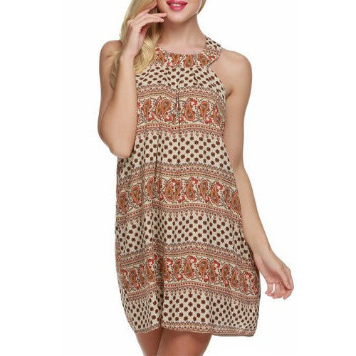 Bohemian Sleeveless Halter Neck Keyhole Back Swing Mini Sundress *Plus - MillionDollarGurl.Com
