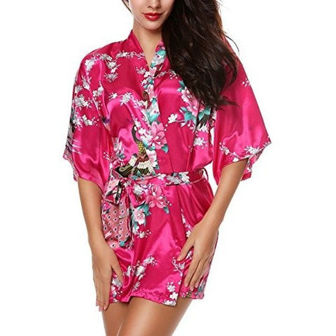 Kimono Robes Peacock and Blossoms Silk Nightwear *Plus - MillionDollarGurl.Com
