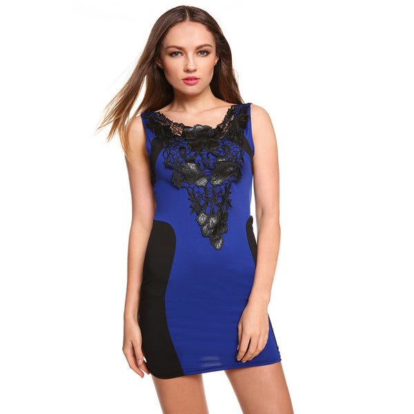 Bodycon Patchwork Lace Embroidery Dress - MillionDollarGurl.Com
