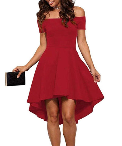 High Low Off Shoulder Short Sleeve Dress *Plus