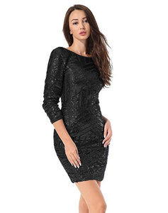 Sequined Long Sleeve Mini Dress *Plus