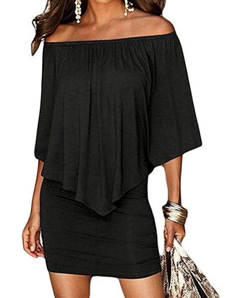 Off Shoulder Ruffles Bodycon Mini Dress *Plus
