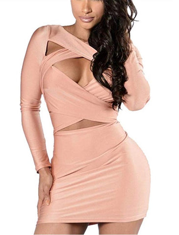 Cut Out Long Sleeve Bodycon Mini Dress