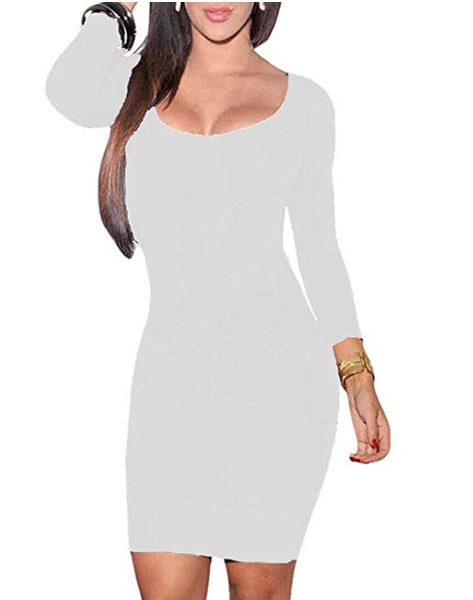 Crewneck Bodycon Mini Evening Dress