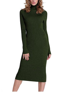 Calf Length Ribber Knit Sweater Dress *Plus