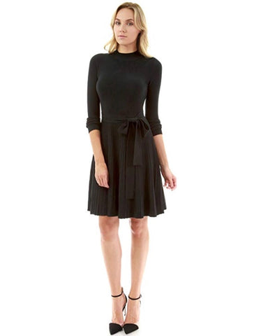 Mock Neck Flare Knit Sweater Dress