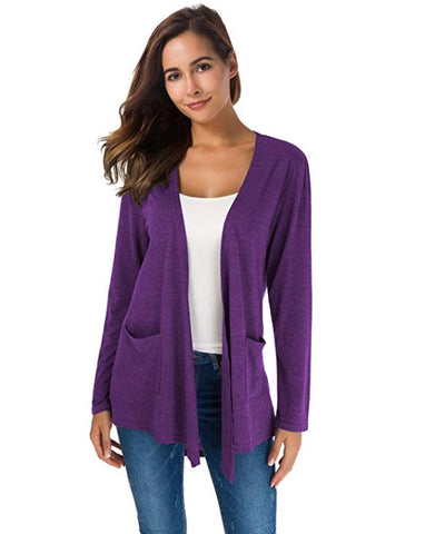 Casual Long Sleeved Open Front Cardigan With Pocket