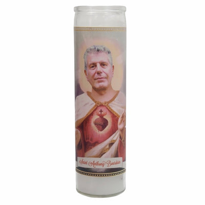 Anthony Bourdain Devotional Prayer Saint Candle - Mose Mary and Me