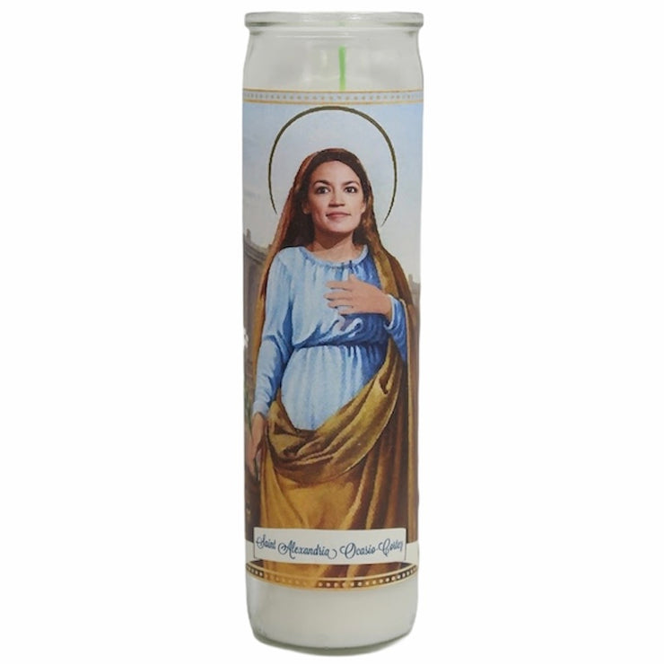 Alexandria Ocasio-Cortez Devotional Prayer Saint Candle - Mose Mary and Me