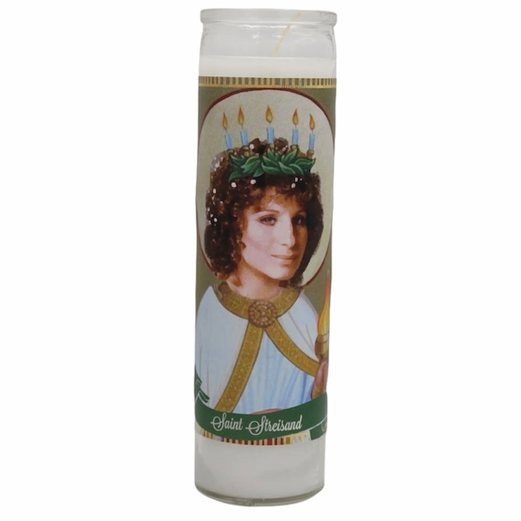 Barbra Streisand Devotional Prayer Saint Candle - Mose Mary and Me