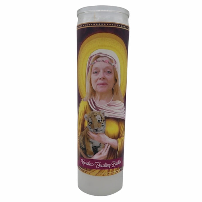 Carole Baskin Devotional Prayer Saint Candle - Mose Mary and Me