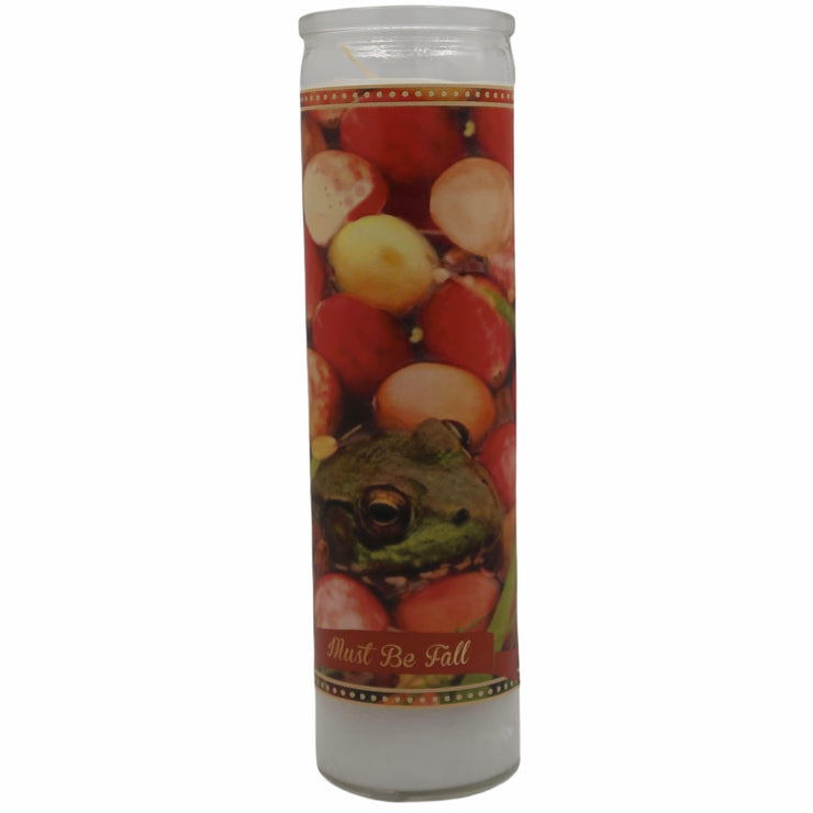 Frogs and Cranberries Must Be Fall Prayer Saint Candle - Mose Mary and Me