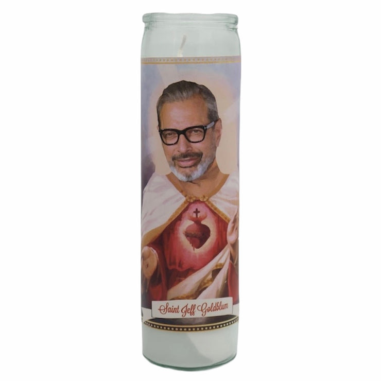 Jeff Goldblum Devotional Prayer Saint Candle - Mose Mary and Me
