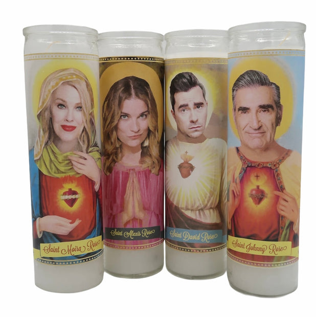 Schitts Creek Cast Devotional Prayer Saint Candles - Mose Mary and Me