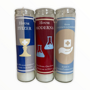 House Moderna, Pfizer, Johnson & Johnson Vaccine  Devotional Prayer Saint Candle - Mose Mary and Me