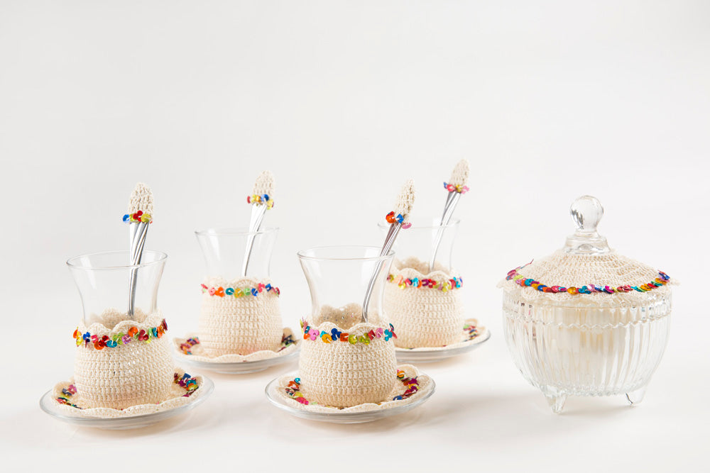 Set Of 6 Pieces Of Hand Made Crochet Tea Cups With Sugary 1 Tamarisk