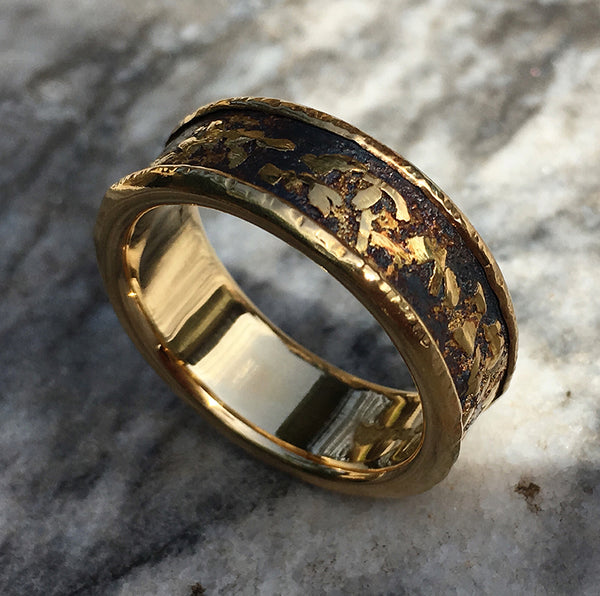 BOULDER RING LINED WITH 18CT GOLD