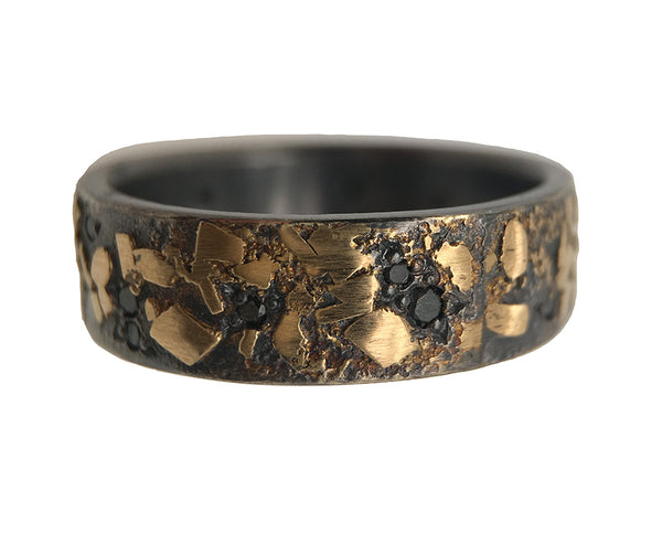 BOULDER RING WITH 12 BLACK DIAMONDS