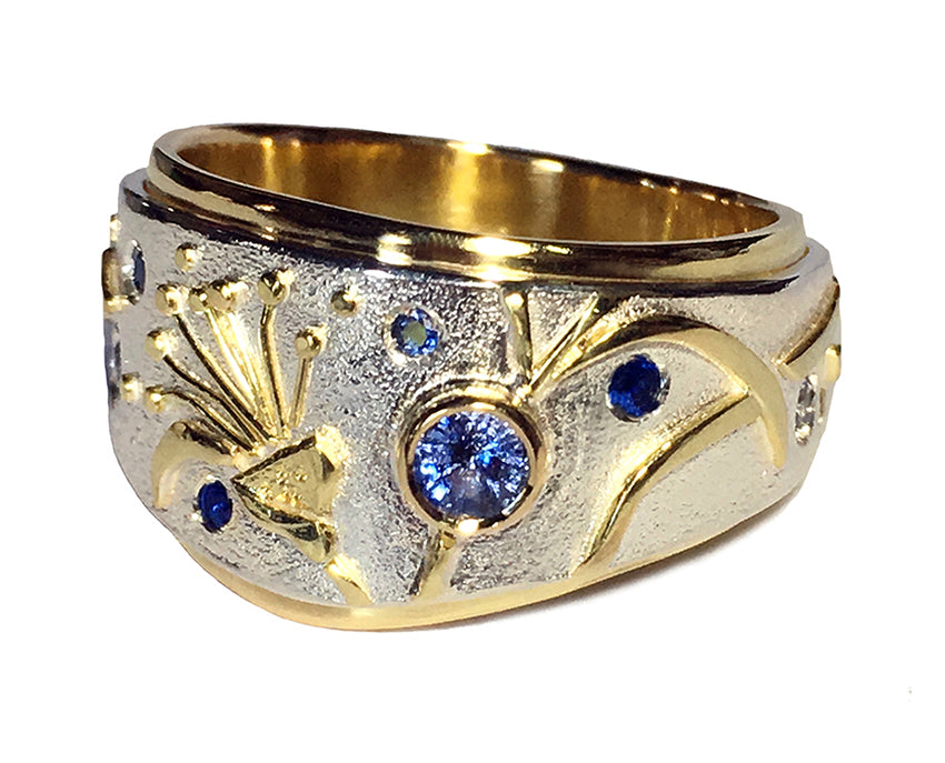 EUCALYPTUS RING WITH SAPPHIRES