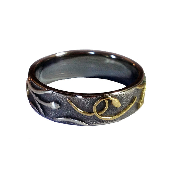 FLAX LILY RING (Black Gold & Silver 6mm)