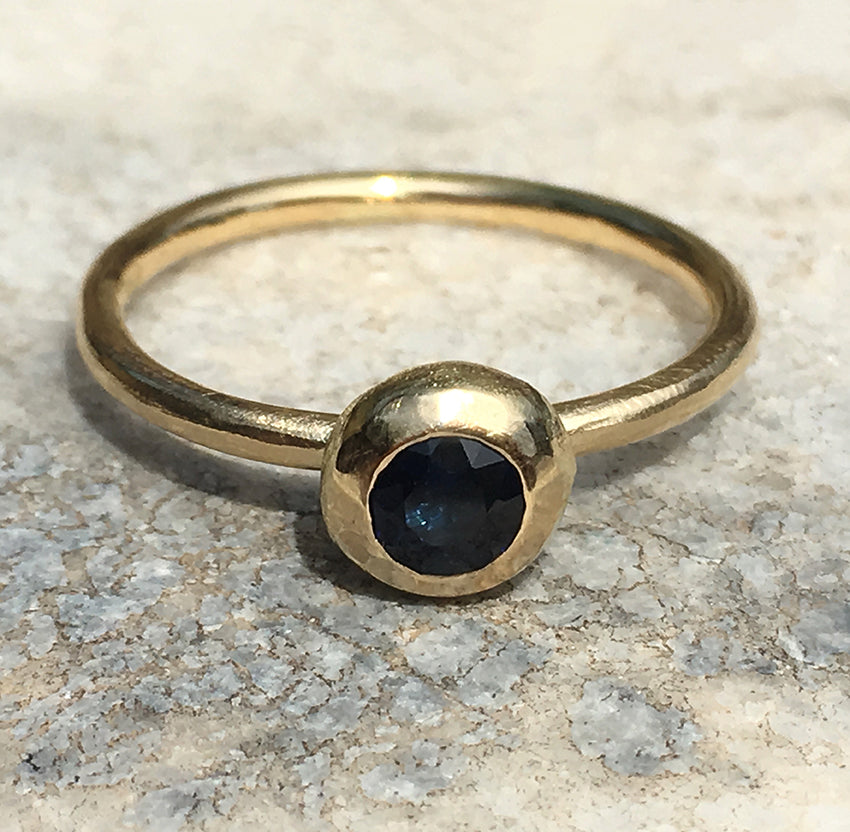 FROSTED ORB RING WITH AUSTRALIAN BLUE SAPPHIRE