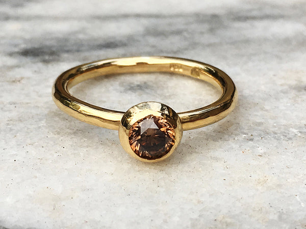 FROSTED ORB RING WITH COGNAC DIAMOND