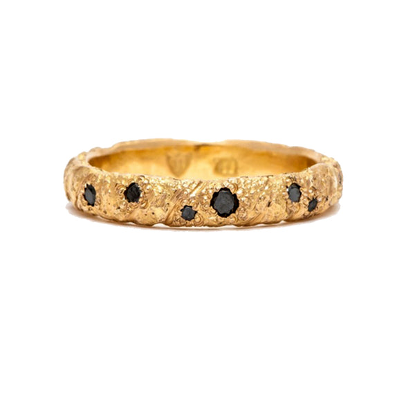 GOLD STRIKE WITH 7 BLACK DIAMONDS RING