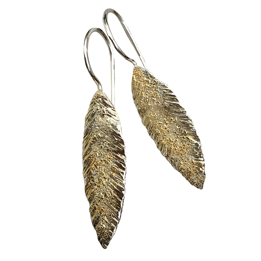 ORIENTAL LEAF HOOK EARRINGS
