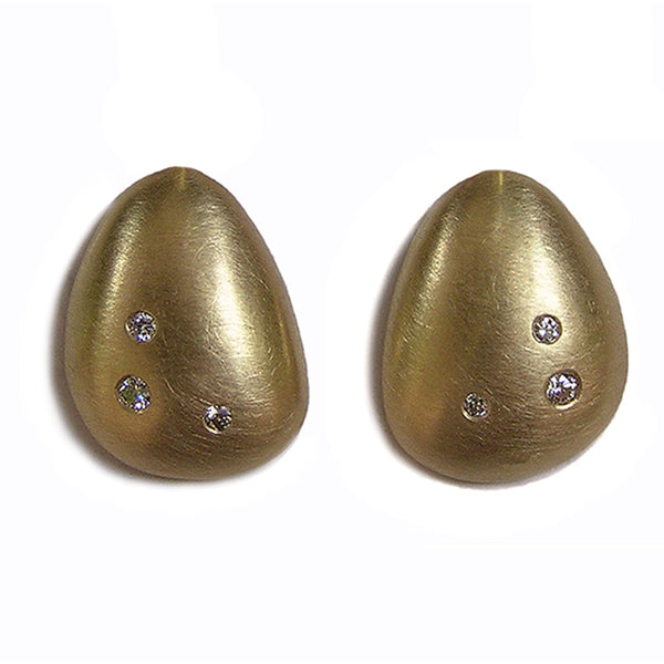PETAL STUD EARRINGS 9CT GOLD WITH DIAMONDS