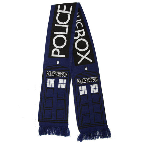 TARDIS knitted scarf