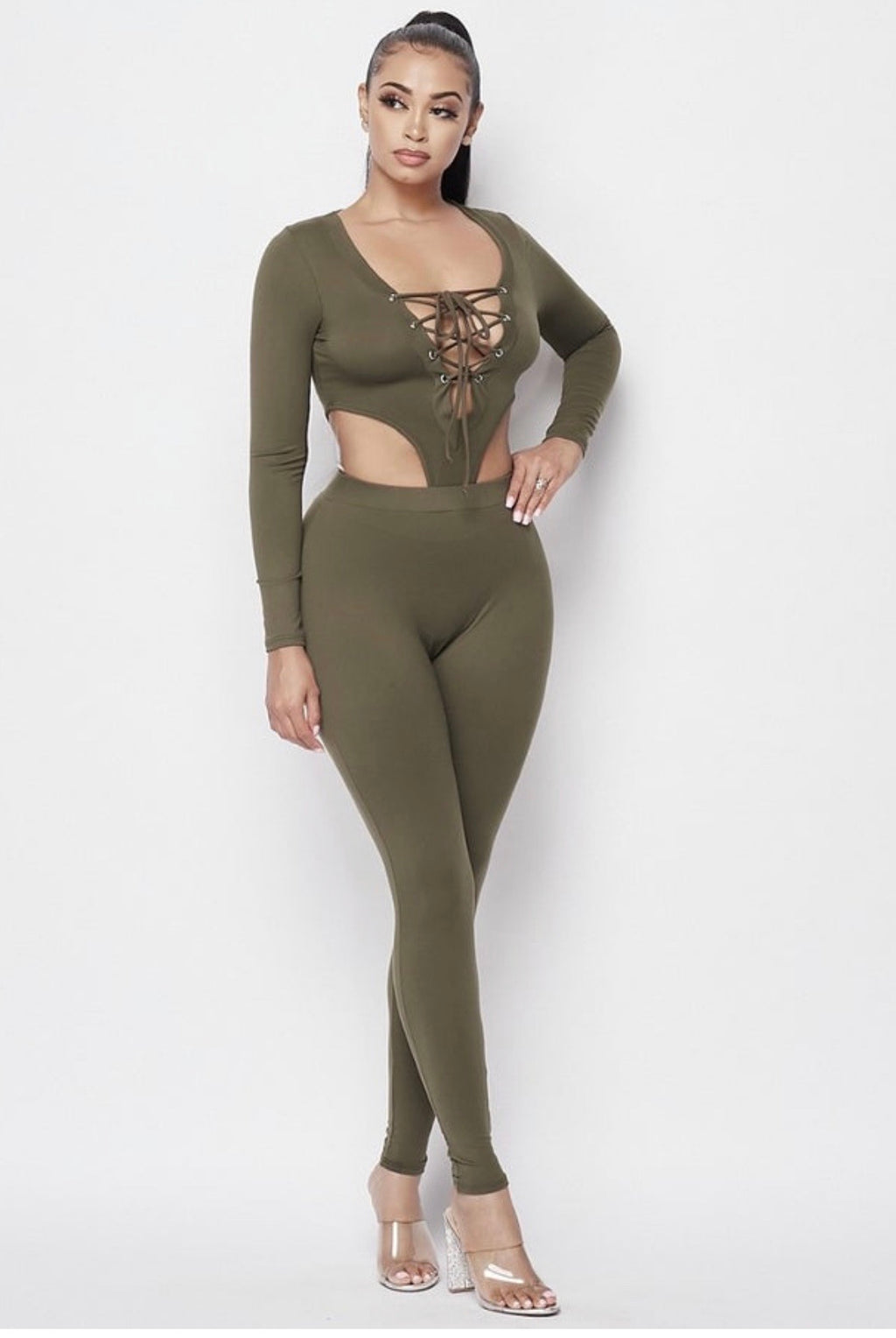 DOWNTOWN JUMPSUIT- OLIVE