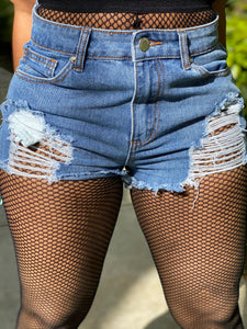 THINK ABOUT ME DISTRESSED SHORTS - IntrigueFashions