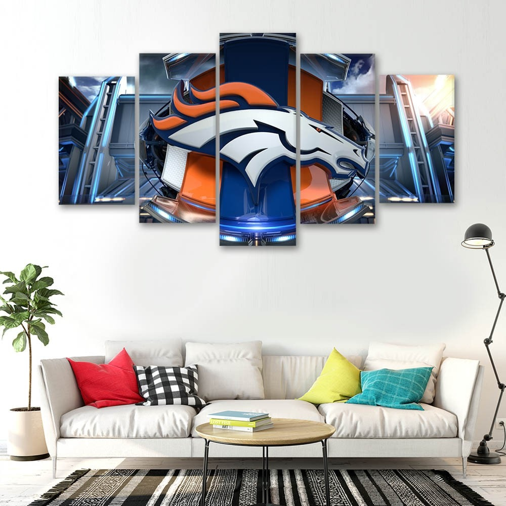 Denver Broncos 3D Logo - 5 Panel Canvas | Cart Invasion