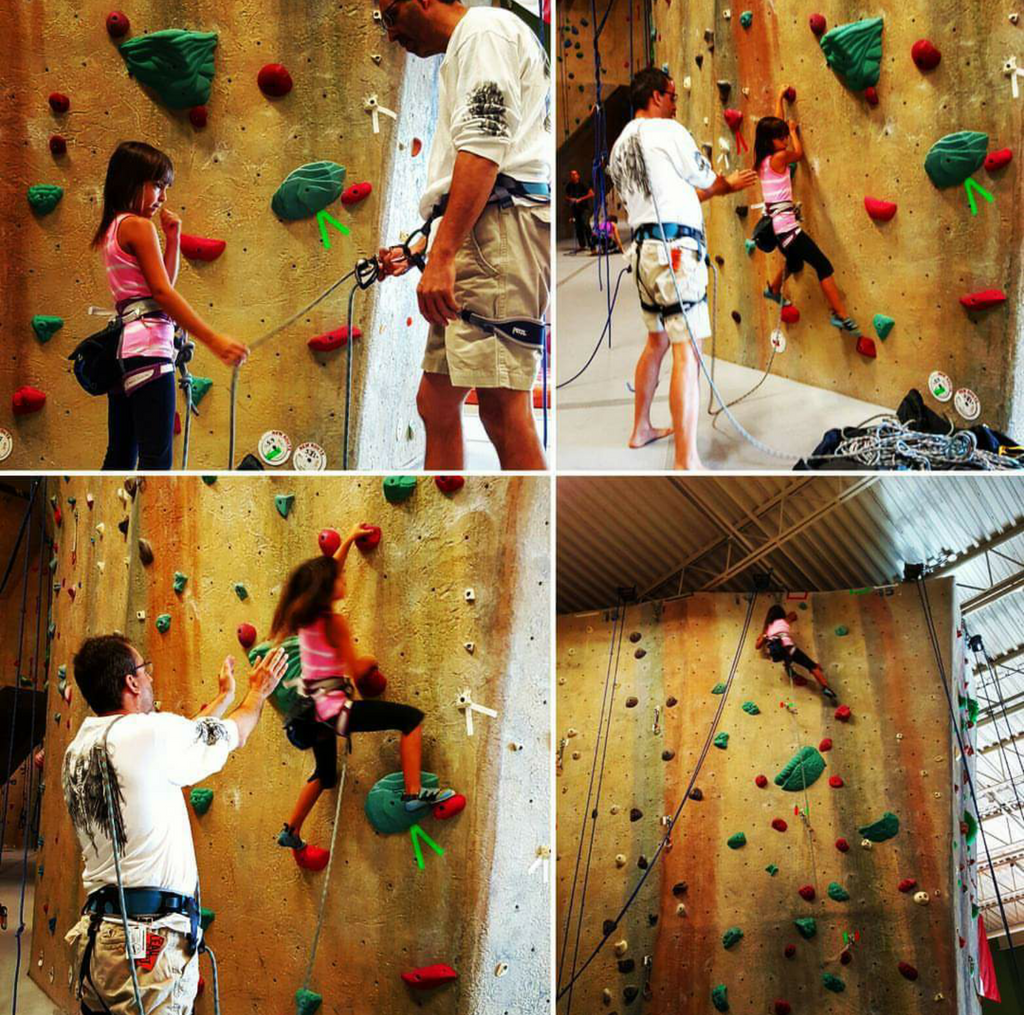 "Kids & sport climbing (lead climbing). How our little sender earned her ""lead tags""."