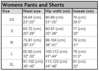 E9 women's fitting guide