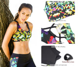 icyzone Women's Workout Yoga Clothes Activewear Printed Racerback Sports Bras