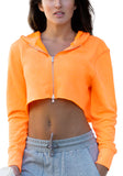 icyzone Long Sleeve Crop Top Zip Up Hoodie Workout Clothes Sweatshirts for Women