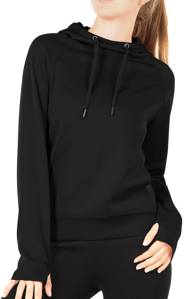 icyzone Workout Hoodie for Women - Athletic Running Pullover Long Sleeve Shirts with Pocket and Thumb Holes