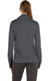 icyzone Workout Shirts for Women - Mock Neck Athletic Running Pullover Long Sleeve Shirts with Pocket and Thumb Holes