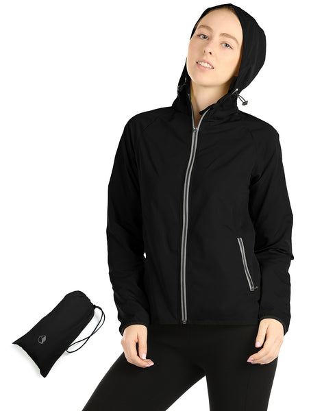 icyzone Lightweight Windbreaker Jackets for Women - Athletic Running Outdoor Packable Zip-up Hoodie