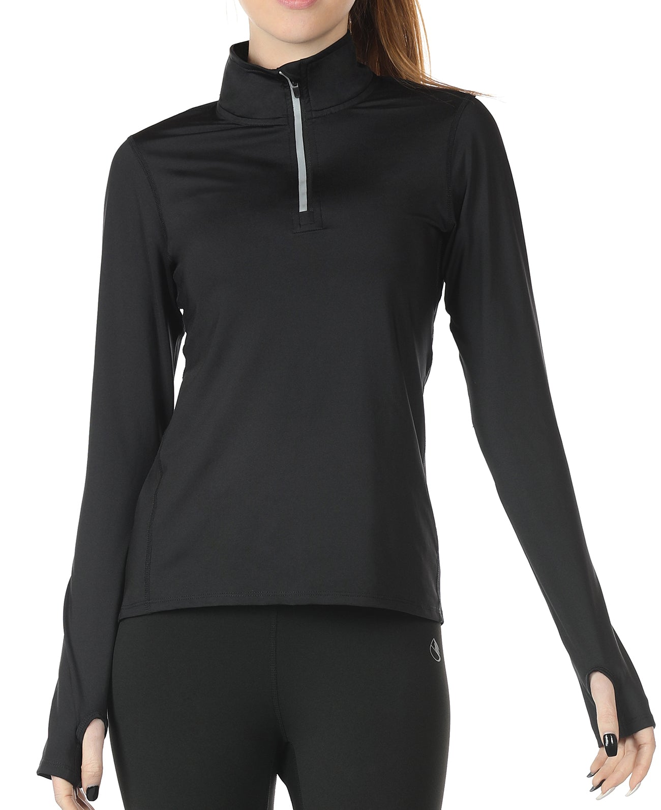 icyzone Workout Long Sleeve Shirts for Women - Yoga Running Tops Quarter Zip Pullover Exercise T-Shirts with Thumb Holes