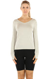 icyzone Long Sleeve Knit Tops for Women - V Neck Undershirts Casual T Shirts with Thumb Holes